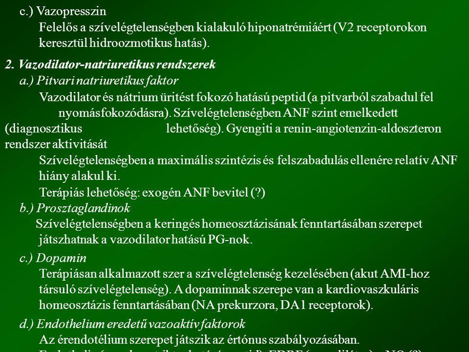c.) Vazopresszin Felelős a szívelégtelenségben kialakuló hiponatrémiáért (V2 receptorokon keresztül hidroozmotikus hatás). 2. Vazodilator-natriuretiku