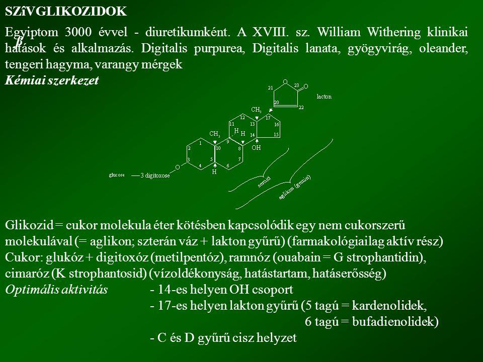 ß SZîVGLIKOZIDOK Egyiptom 3000 évvel - diuretikumként. A XVIII. sz. William Withering klinikai hatások és alkalmazás. Digitalis purpurea, Digitalis la