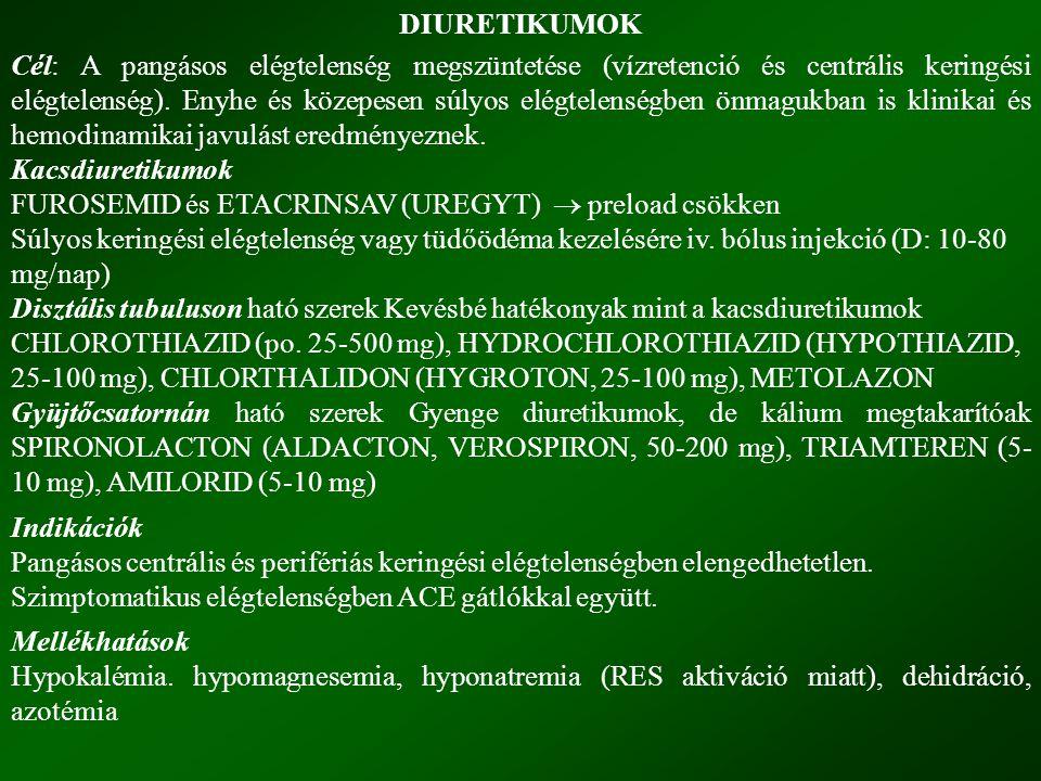 DIURETIKUMOK Cél: A pangásos elégtelenség megszüntetése (vízretenció és centrális keringési elégtelenség).