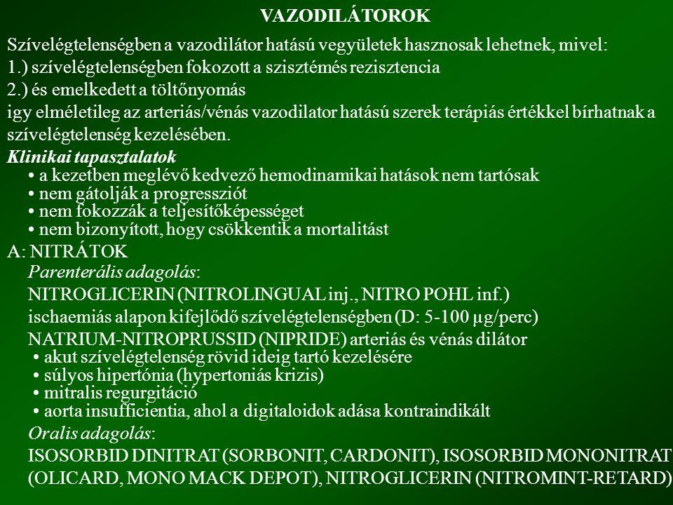 VAZODILÁTOROK Szívelégtelenségben a vazodilátor hatású vegyületek hasznosak lehetnek, mivel: 1.) szívelégtelenségben fokozott a szisztémés rezisztencia 2.) és emelkedett a töltőnyomás igy elméletileg az arteriás/vénás vazodilator hatású szerek terápiás értékkel bírhatnak a szívelégtelenség kezelésében.