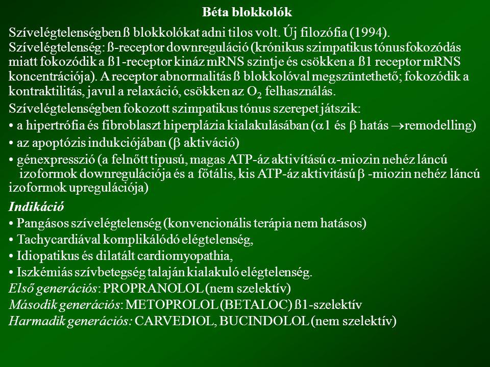 Béta blokkolók Szívelégtelenségben ß blokkolókat adni tilos volt. Új filozófia (1994). Szívelégtelenség: ß-receptor downreguláció (krónikus szimpatiku
