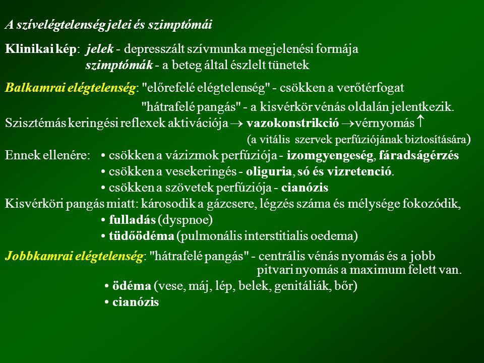 A szívelégtelenség jelei és szimptómái Klinikai kép: jelek - depresszált szívmunka megjelenési formája szimptómák - a beteg által észlelt tünetek Balk