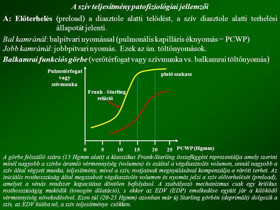 A szív teljesítmény patofiziológiai jellemzői A: Előterhelés (preload) a diasztole alatti telődést, a szív diasztole alatti terhelési állapotát jelent