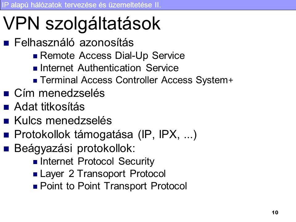 IP alapú hálózatok tervezése és üzemeltetése II. 10 VPN szolgáltatások Felhasználó azonosítás Remote Access Dial-Up Service Internet Authentication Se