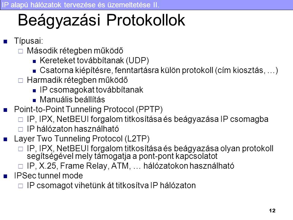 IP alapú hálózatok tervezése és üzemeltetése II. 12 Beágyazási Protokollok Típusai:  Második rétegben működő Kereteket továbbítanak (UDP) Csatorna ki
