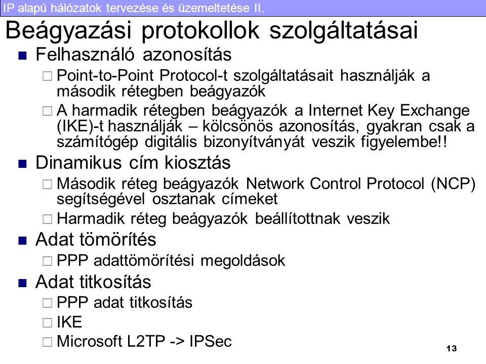 IP alapú hálózatok tervezése és üzemeltetése II. 13 Beágyazási protokollok szolgáltatásai Felhasználó azonosítás  Point-to-Point Protocol-t szolgálta