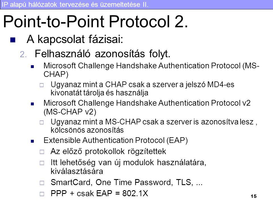 IP alapú hálózatok tervezése és üzemeltetése II. 15 Point-to-Point Protocol 2. A kapcsolat fázisai: 2. Felhasználó azonosítás folyt. Microsoft Challen