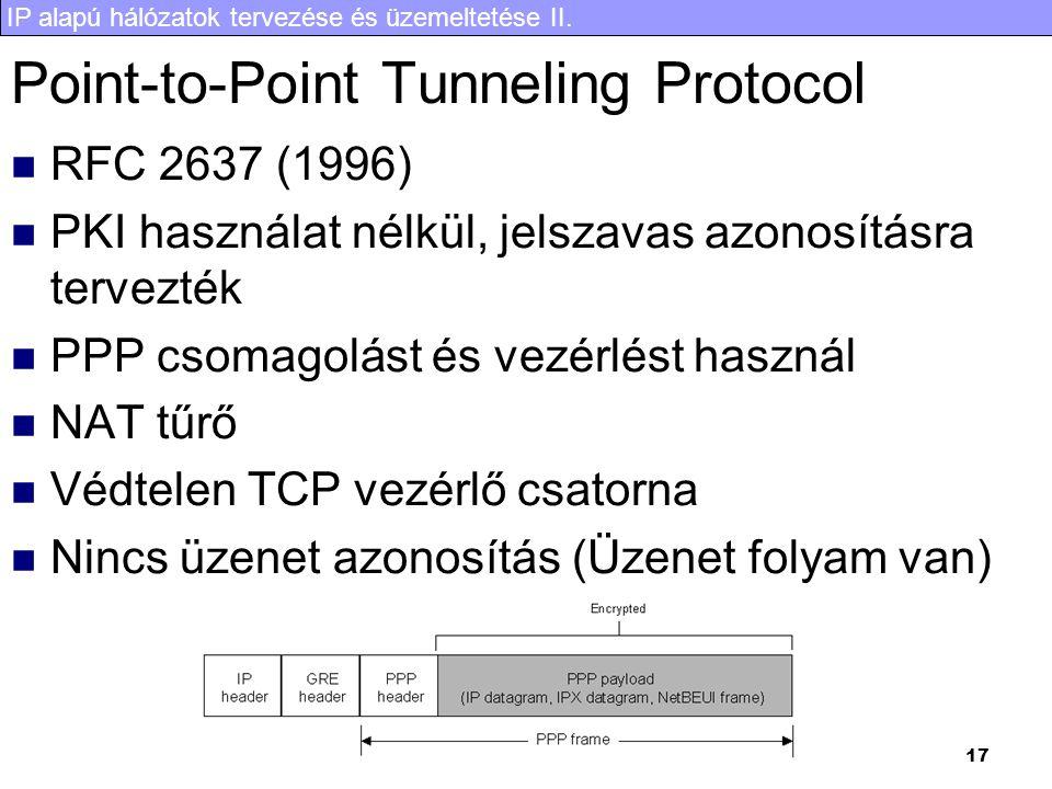 IP alapú hálózatok tervezése és üzemeltetése II. 17 Point-to-Point Tunneling Protocol RFC 2637 (1996) PKI használat nélkül, jelszavas azonosításra ter