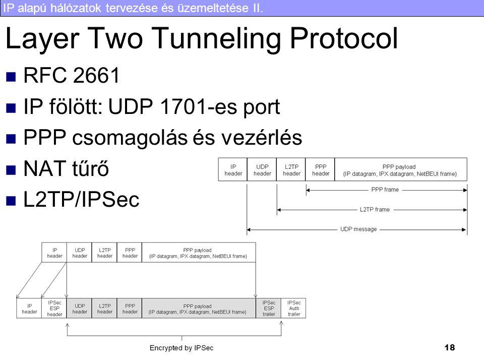 IP alapú hálózatok tervezése és üzemeltetése II. 18 Layer Two Tunneling Protocol RFC 2661 IP fölött: UDP 1701-es port PPP csomagolás és vezérlés NAT t