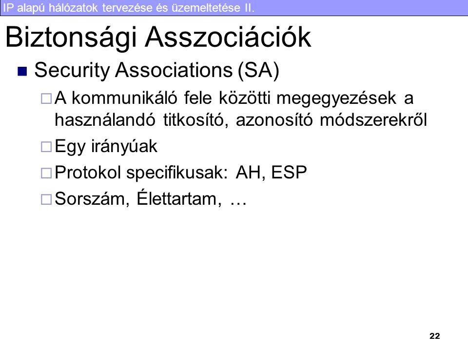 IP alapú hálózatok tervezése és üzemeltetése II. 22 Biztonsági Asszociációk Security Associations (SA)  A kommunikáló fele közötti megegyezések a has