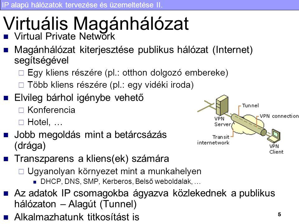 IP alapú hálózatok tervezése és üzemeltetése II. 5 Virtuális Magánhálózat Virtual Private Network Magánhálózat kiterjesztése publikus hálózat (Interne