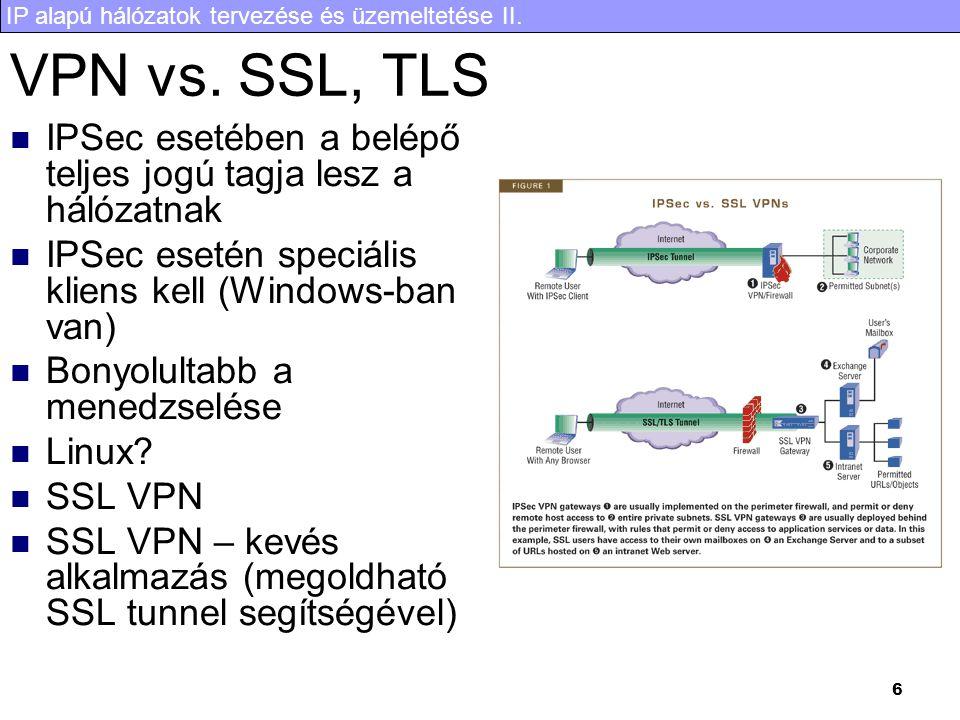 IP alapú hálózatok tervezése és üzemeltetése II. 6 VPN vs. SSL, TLS IPSec esetében a belépő teljes jogú tagja lesz a hálózatnak IPSec esetén speciális