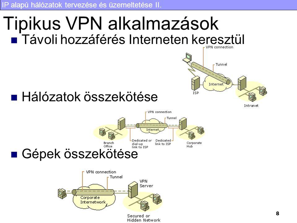IP alapú hálózatok tervezése és üzemeltetése II. 8 Tipikus VPN alkalmazások Távoli hozzáférés Interneten keresztül Hálózatok összekötése Gépek összekö
