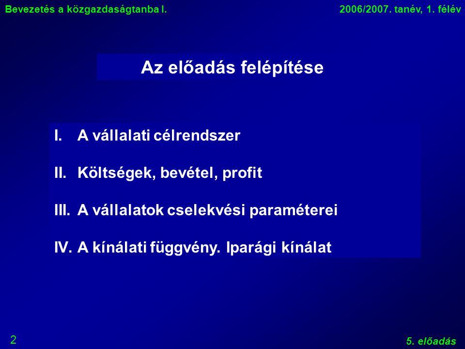2 Bevezetés a közgazdaságtanba I.2006/2007. tanév, 1.