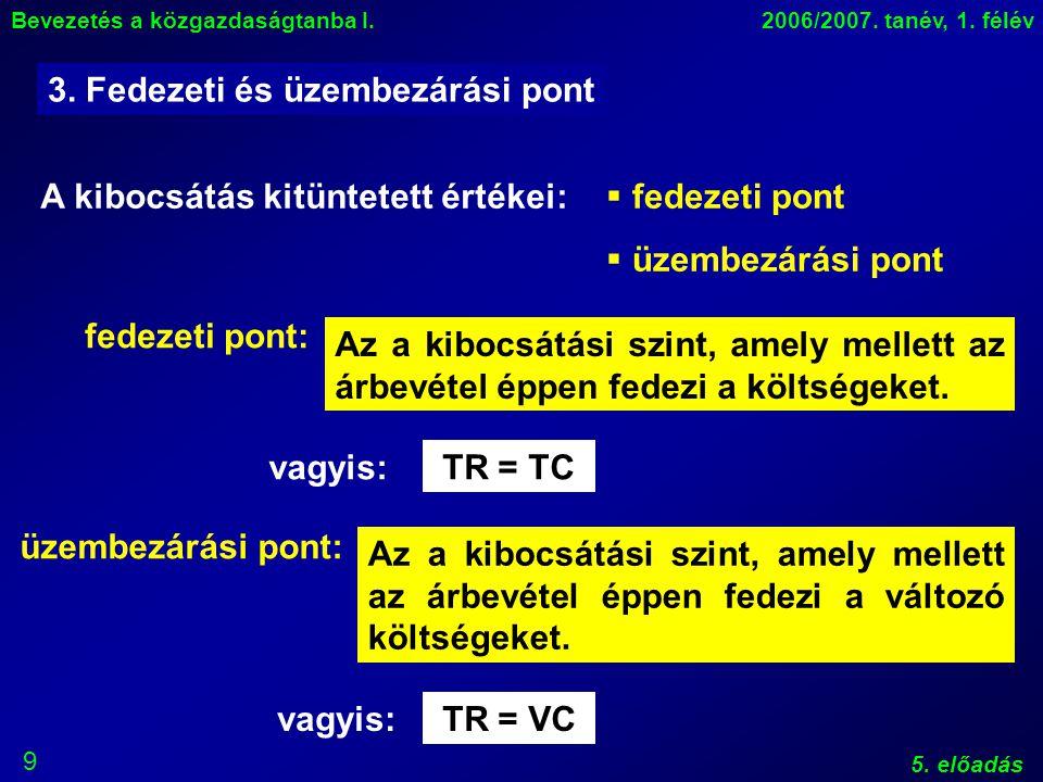 9 Bevezetés a közgazdaságtanba I.2006/2007. tanév, 1.