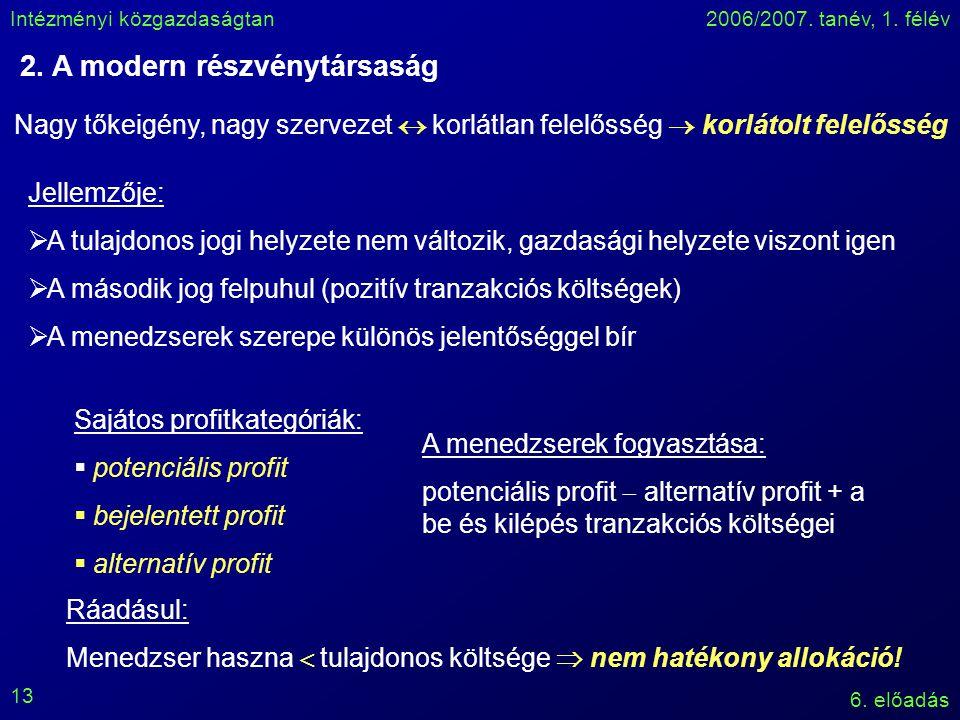 Intézményi közgazdaságtan2006/2007. tanév, 1. félév 6. előadás 13 2. A modern részvénytársaság Nagy tőkeigény, nagy szervezet  korlátlan felelősség 