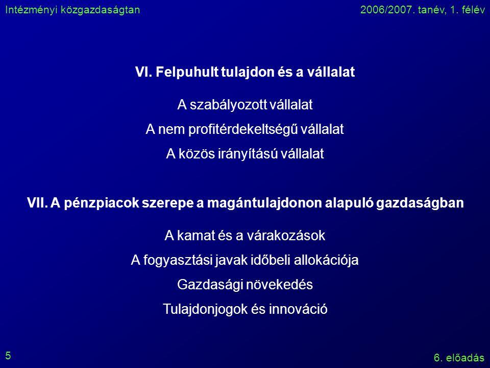 Intézményi közgazdaságtan2006/2007. tanév, 1. félév 6. előadás 5 VI. Felpuhult tulajdon és a vállalat A szabályozott vállalat A nem profitérdekeltségű