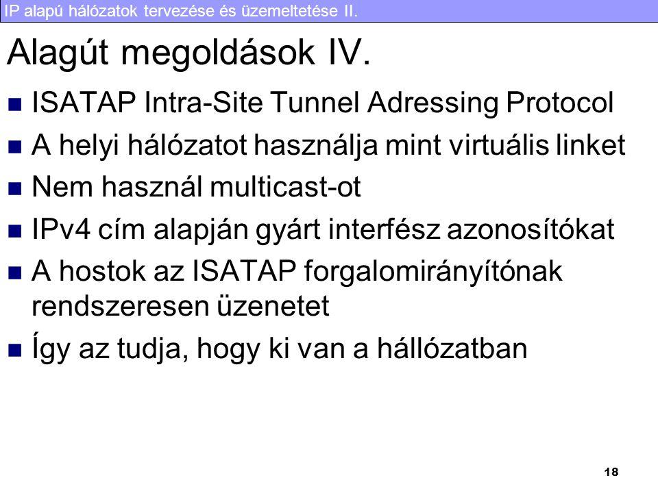 IP alapú hálózatok tervezése és üzemeltetése II. 18 Alagút megoldások IV.