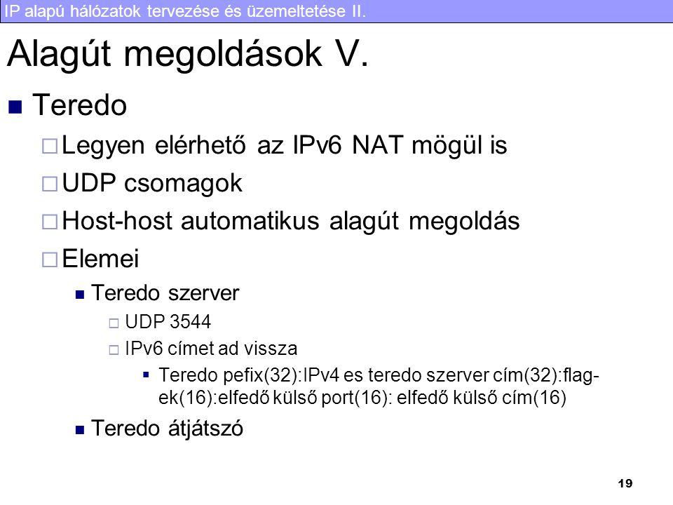 IP alapú hálózatok tervezése és üzemeltetése II. 19 Alagút megoldások V.