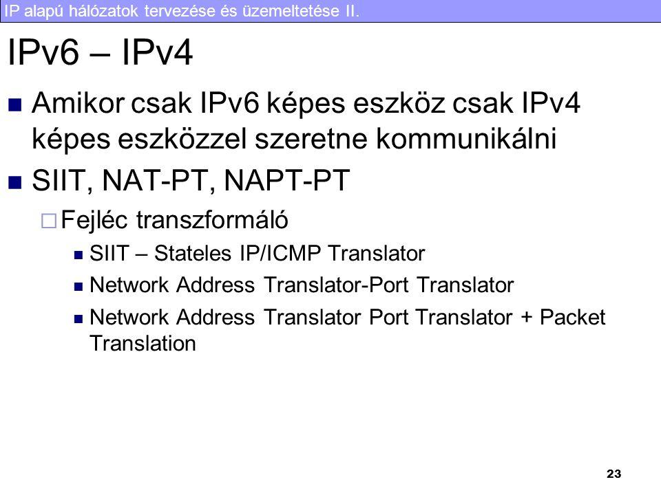 IP alapú hálózatok tervezése és üzemeltetése II. 24 Bump in the stack