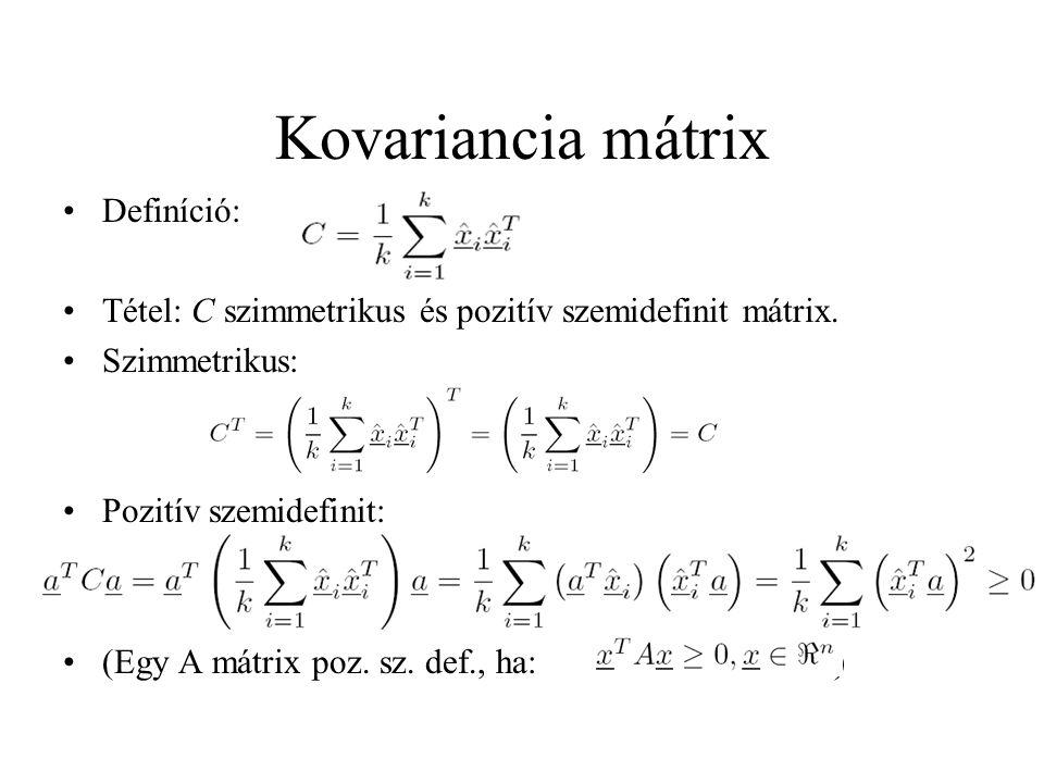 Kovariancia mátrix Definíció: Tétel: C szimmetrikus és pozitív szemidefinit mátrix. Szimmetrikus: Pozitív szemidefinit: (Egy A mátrix poz. sz. def., h