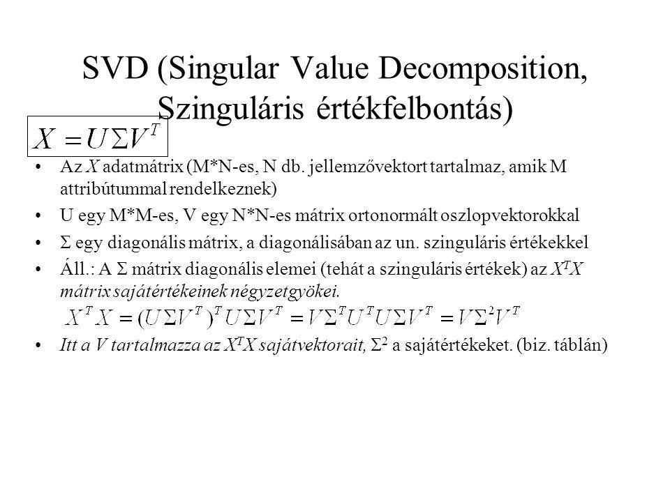 SVD (Singular Value Decomposition, Szinguláris értékfelbontás) Az X adatmátrix (M*N-es, N db. jellemzővektort tartalmaz, amik M attribútummal rendelke