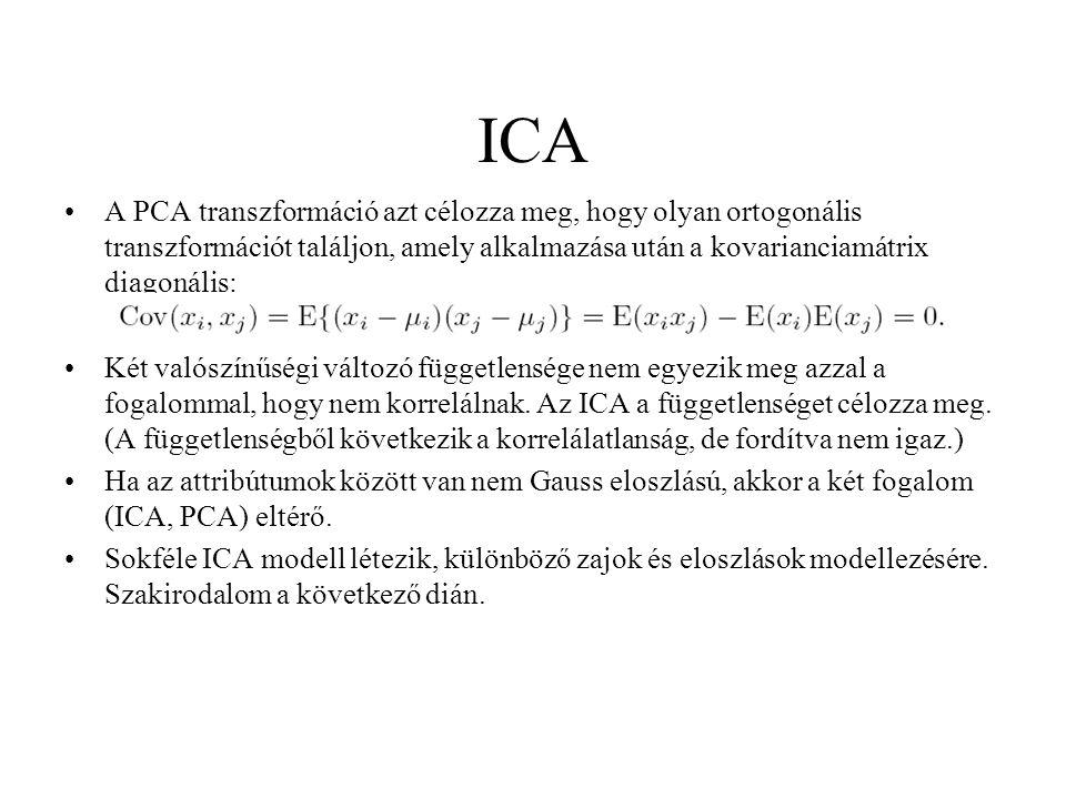 ICA A PCA transzformáció azt célozza meg, hogy olyan ortogonális transzformációt találjon, amely alkalmazása után a kovarianciamátrix diagonális: Két