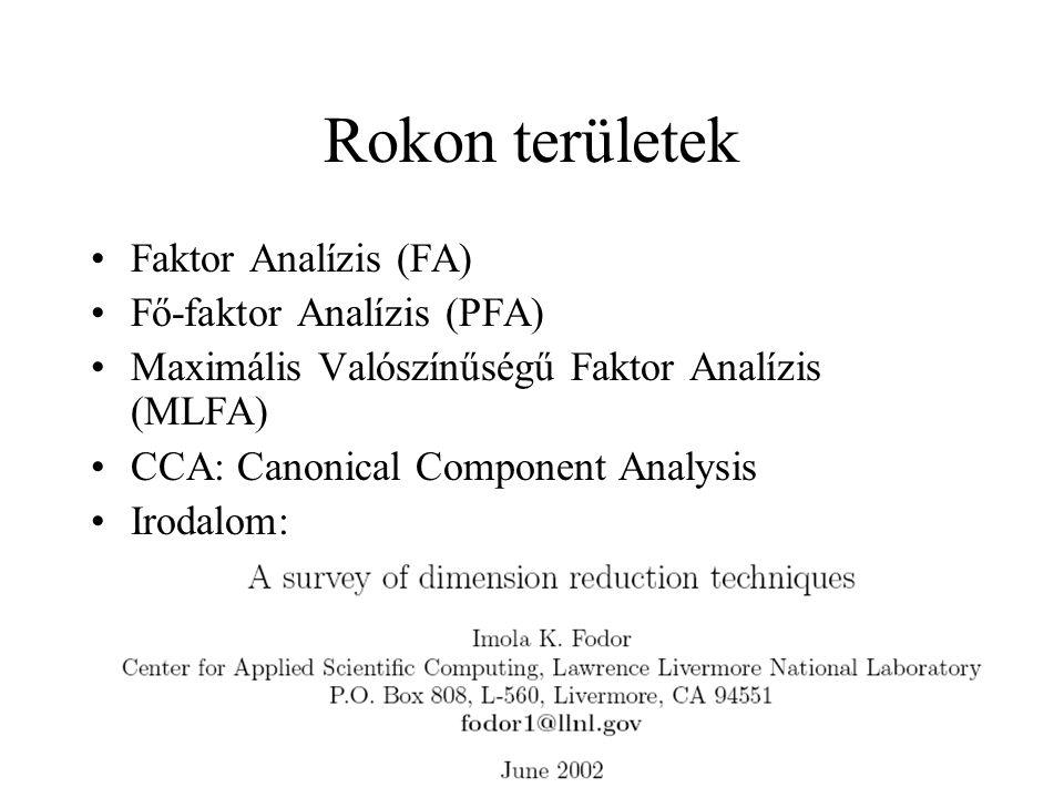 Rokon területek Faktor Analízis (FA) Fő-faktor Analízis (PFA) Maximális Valószínűségű Faktor Analízis (MLFA) CCA: Canonical Component Analysis Irodalo