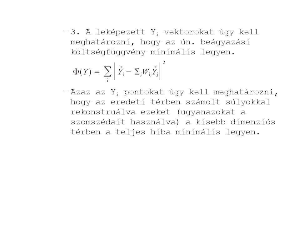 –3. A leképezett Y i vektorokat úgy kell meghatározni, hogy az ún. beágyazási költségfüggvény minimális legyen. –Azaz az Y i pontokat úgy kell meghatá