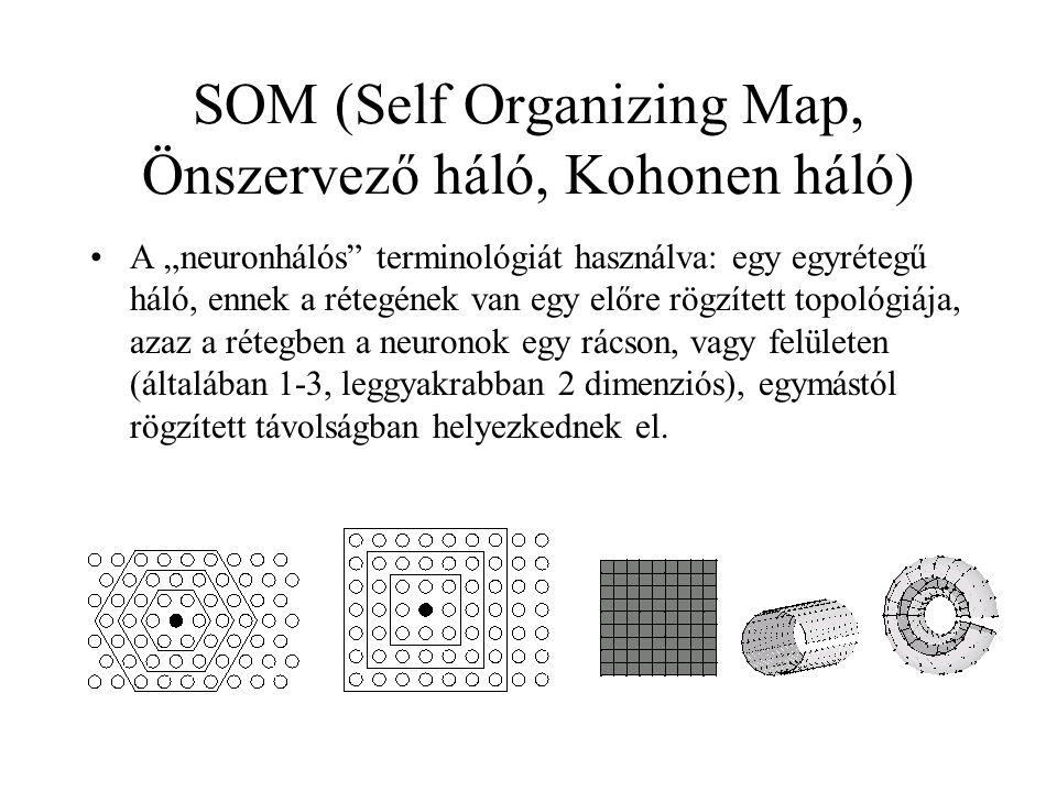 """SOM (Self Organizing Map, Önszervező háló, Kohonen háló) A """"neuronhálós"""" terminológiát használva: egy egyrétegű háló, ennek a rétegének van egy előre"""