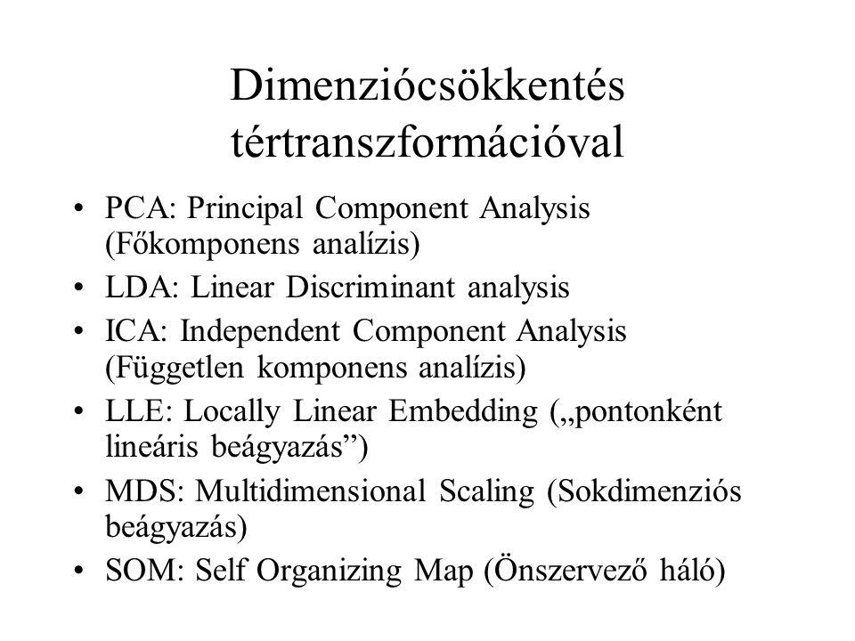 Dimenziócsökkentés tértranszformációval PCA: Principal Component Analysis (Főkomponens analízis) LDA: Linear Discriminant analysis ICA: Independent Co