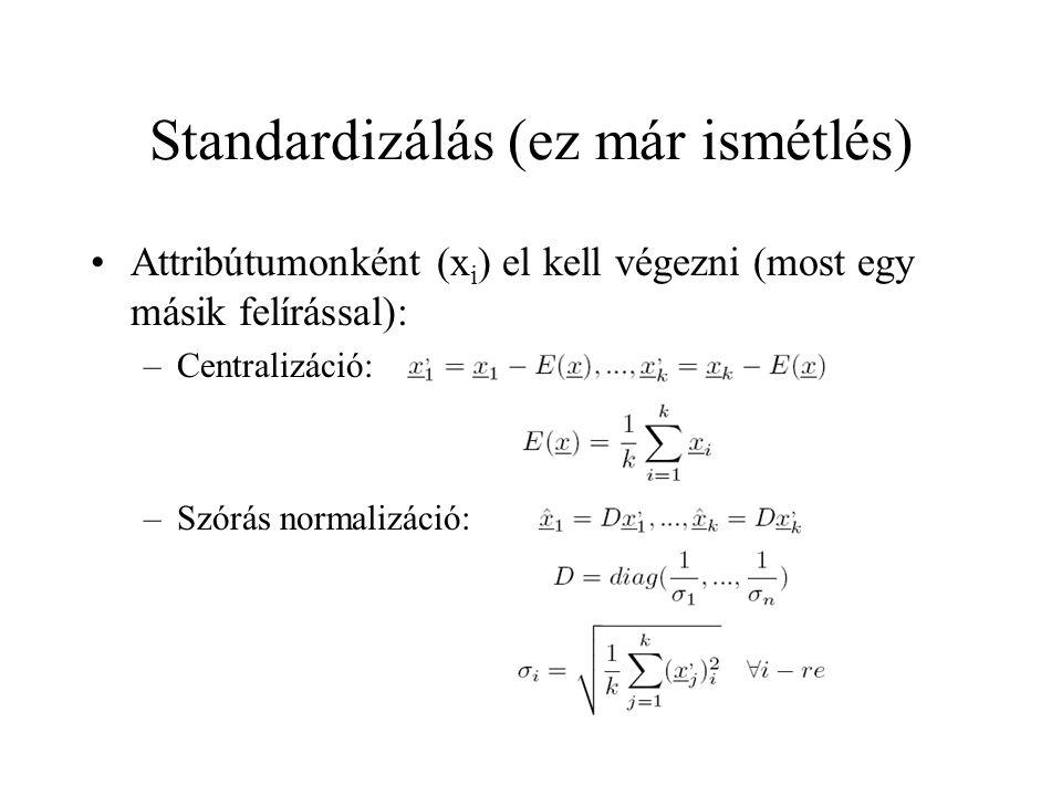 Standardizálás (ez már ismétlés) Attribútumonként (x i ) el kell végezni (most egy másik felírással): –Centralizáció: –Szórás normalizáció: