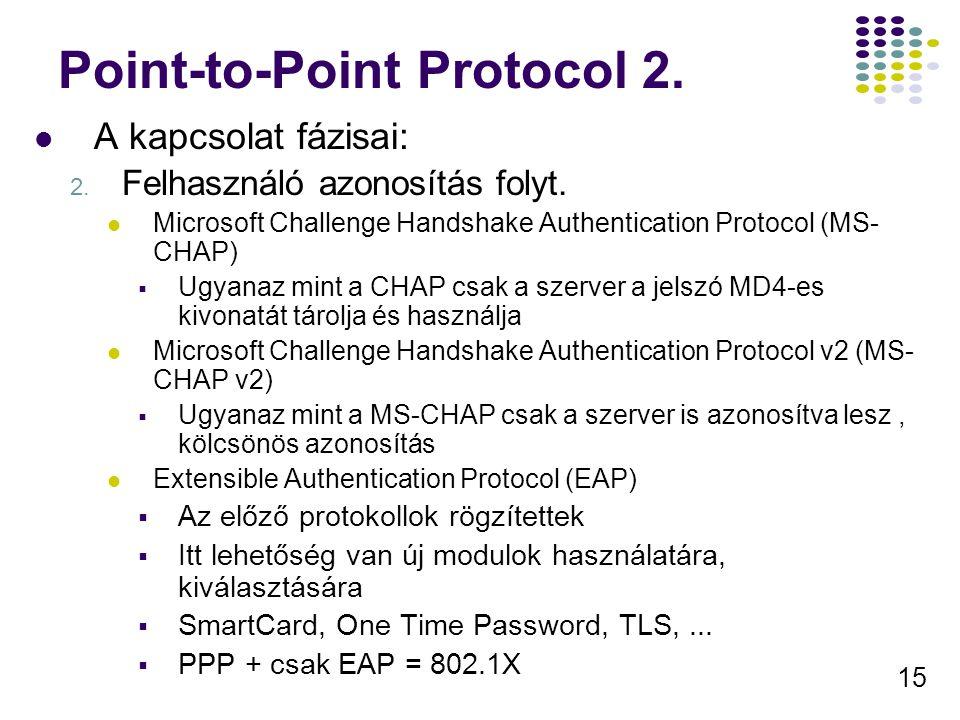 15 Point-to-Point Protocol 2. A kapcsolat fázisai: 2. Felhasználó azonosítás folyt. Microsoft Challenge Handshake Authentication Protocol (MS- CHAP) 