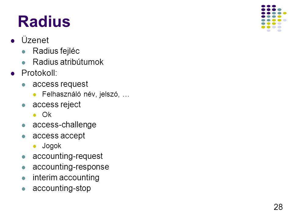 28 Radius Üzenet Radius fejléc Radius atribútumok Protokoll: access request Felhasználó név, jelszó, … access reject Ok access-challenge access accept
