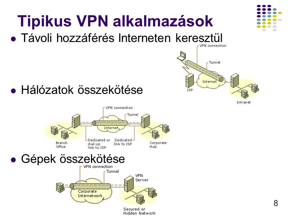 19 IPSec RFC 2401, 2402, és 2406 Vég-vég IP alapú adat titkosítás Nem NAT képes (IKE miatt, részleges megoldás van, checksum, …) Részei: Interenet Kulccsere (Internet Key Exchange) UDP 500-as port Paraméter egyeztetés Kulccsere Azonosító fejléc (Authentication Header AH ) Forrás azonosítás, integritás védelem Biztonsági Tartalom Beágyazás (Encapsulating Security Payload ESP) Azonosítás, integritás védelem, titkosítás