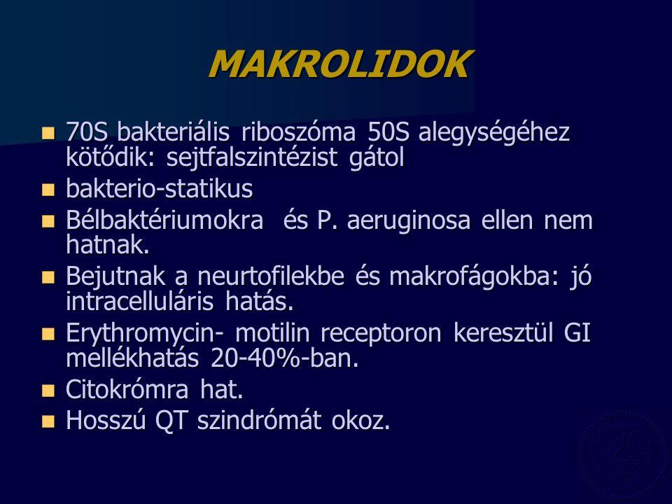 MAKROLIDOK 70S bakteriális riboszóma 50S alegységéhez kötődik: sejtfalszintézist gátol 70S bakteriális riboszóma 50S alegységéhez kötődik: sejtfalszin