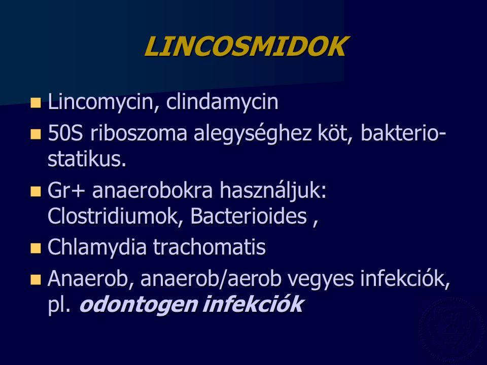 LINCOSMIDOK Lincomycin, clindamycin Lincomycin, clindamycin 50S riboszoma alegységhez köt, bakterio- statikus. 50S riboszoma alegységhez köt, bakterio