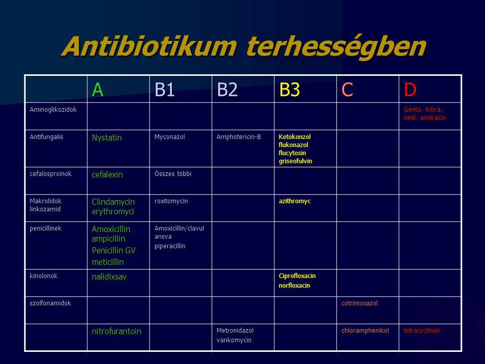 Antibiotikum terhességben AB1B2B3CD Aminoglikozidok Genta, tobra, netil, amikacin AntifungalisNystatinMyconazolAmphotericin-B Ketokonzol flukonazol fl