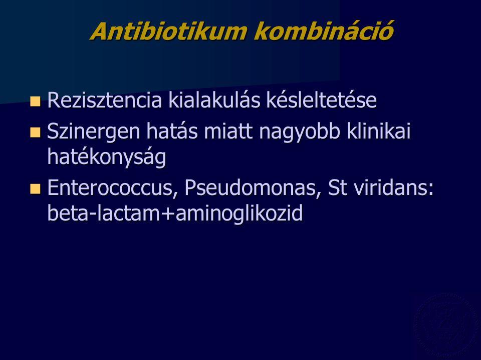 Antibiotikum kombináció Rezisztencia kialakulás késleltetése Rezisztencia kialakulás késleltetése Szinergen hatás miatt nagyobb klinikai hatékonyság S