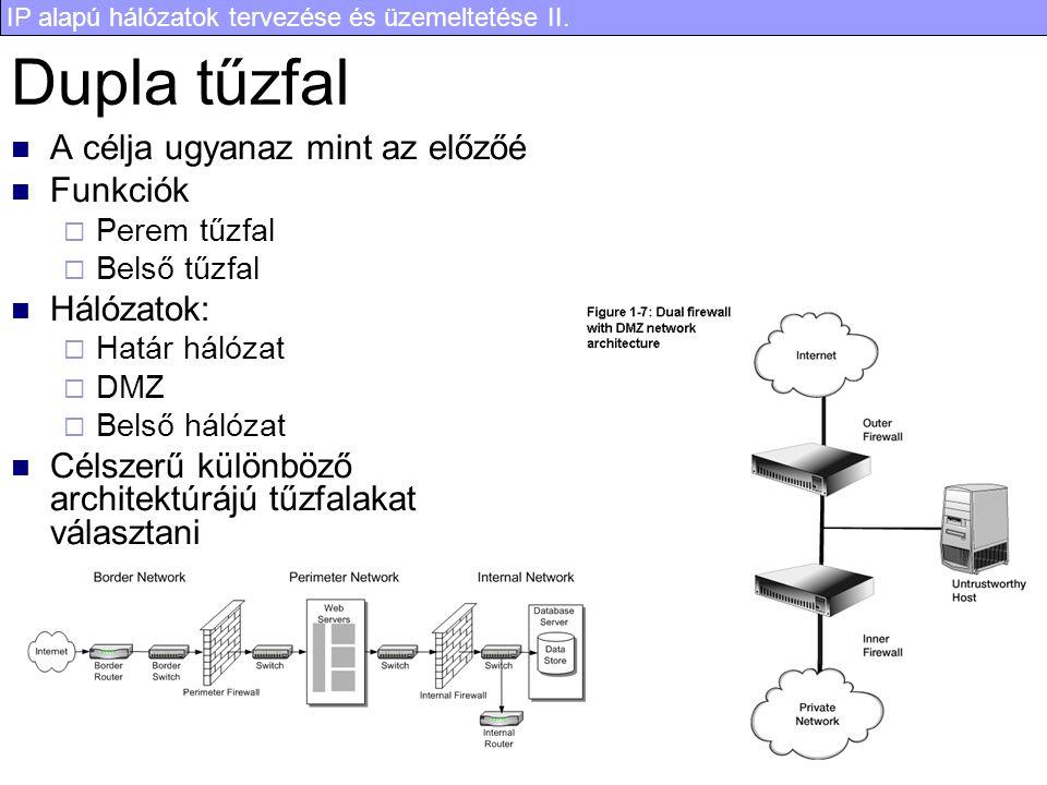 IP alapú hálózatok tervezése és üzemeltetése II. 13 Dupla tűzfal A célja ugyanaz mint az előzőé Funkciók  Perem tűzfal  Belső tűzfal Hálózatok:  Ha