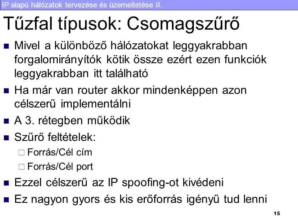 IP alapú hálózatok tervezése és üzemeltetése II. 15 Tűzfal típusok: Csomagszűrő Mivel a különböző hálózatokat leggyakrabban forgalomirányítók kötik ös