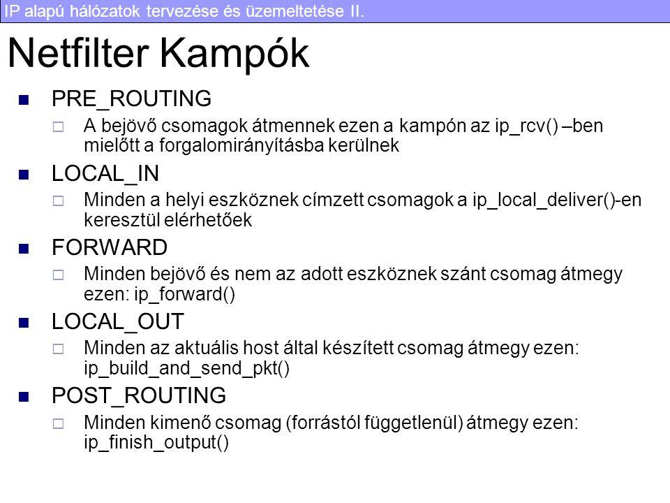 IP alapú hálózatok tervezése és üzemeltetése II. Netfilter Kampók PRE_ROUTING  A bejövő csomagok átmennek ezen a kampón az ip_rcv() –ben mielőtt a fo