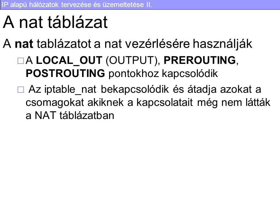 IP alapú hálózatok tervezése és üzemeltetése II. A nat táblázat A nat tablázatot a nat vezérlésére használják  A LOCAL_OUT (OUTPUT), PREROUTING, POST