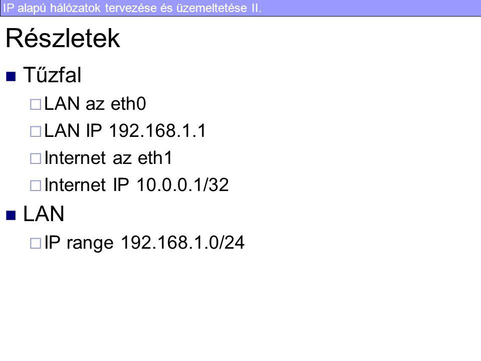 IP alapú hálózatok tervezése és üzemeltetése II. Részletek Tűzfal  LAN az eth0  LAN IP 192.168.1.1  Internet az eth1  Internet IP 10.0.0.1/32 LAN