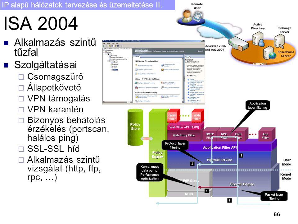 IP alapú hálózatok tervezése és üzemeltetése II. 66 ISA 2004 Alkalmazás szintű tűzfal Szolgáltatásai  Csomagszűrő  Állapotkövető  VPN támogatás  V