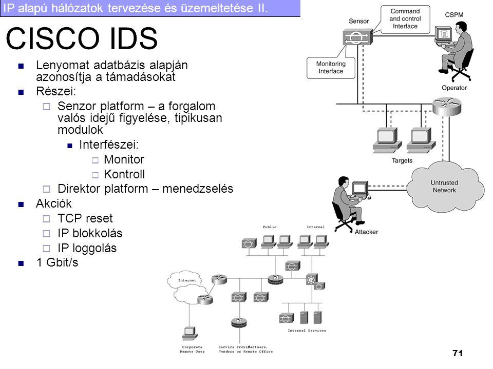 IP alapú hálózatok tervezése és üzemeltetése II. 71 CISCO IDS Lenyomat adatbázis alapján azonosítja a támadásokat Részei:  Senzor platform – a forgal