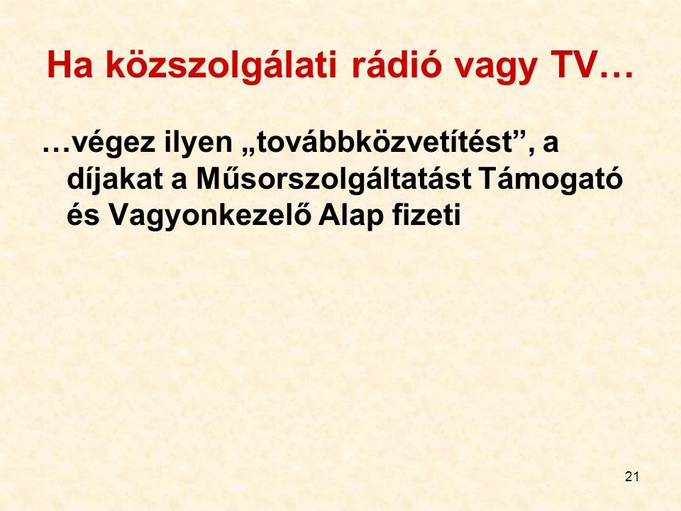 """21 Ha közszolgálati rádió vagy TV… …végez ilyen """"továbbközvetítést"""", a díjakat a Műsorszolgáltatást Támogató és Vagyonkezelő Alap fizeti"""