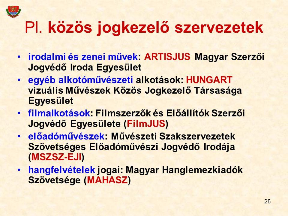 25 Pl. közös jogkezelő szervezetek irodalmi és zenei művek: ARTISJUS Magyar Szerzői Jogvédő Iroda Egyesület egyéb alkotóművészeti alkotások: HUNGART v
