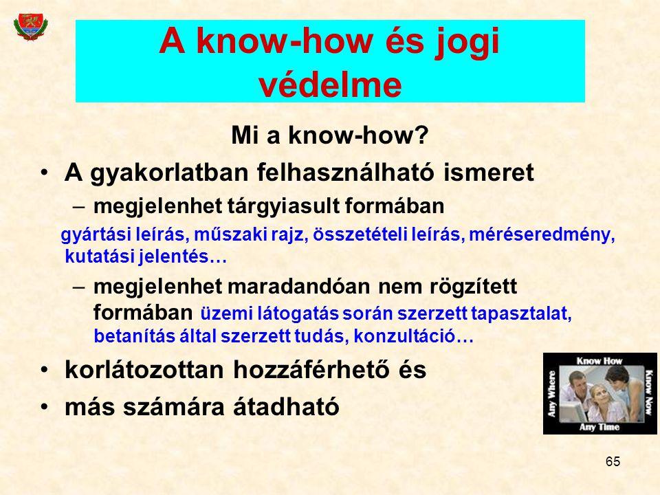 65 A know-how és jogi védelme Mi a know-how? A gyakorlatban felhasználható ismeret –megjelenhet tárgyiasult formában gyártási leírás, műszaki rajz, ös