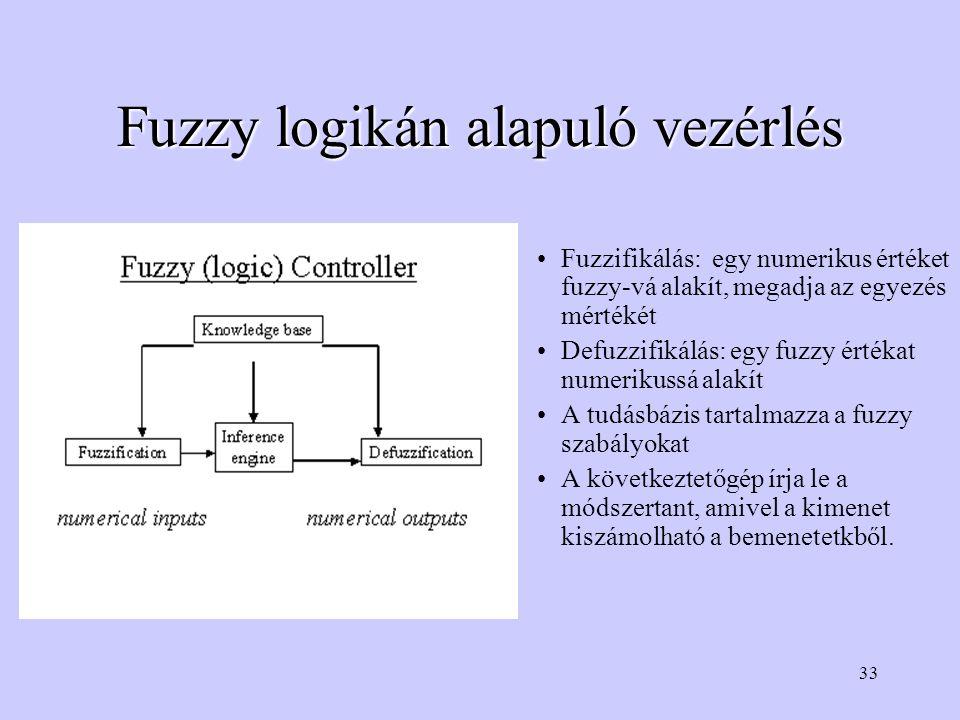 33 Fuzzy logikán alapuló vezérlés Fuzzifikálás: egy numerikus értéket fuzzy-vá alakít, megadja az egyezés mértékét Defuzzifikálás: egy fuzzy értékat numerikussá alakít A tudásbázis tartalmazza a fuzzy szabályokat A következtetőgép írja le a módszertant, amivel a kimenet kiszámolható a bemenetetkből.